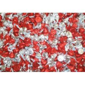 Valentines Day Gift Hershey Red and Silver Kisses 15 Lb Bag