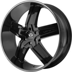 Lorenzo WL030 24x9.5 Black Wheel / Rim 6x135 with a 35mm Offset and a