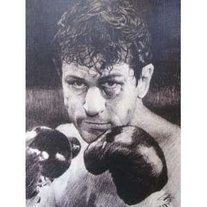 Raging Bull (1980)   Robert DeNiro Sketch Portrait, Charcoal Graphite