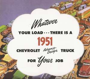CHEVROLET 1951 Truck Sales Brochure 51 Chevy Pick Up