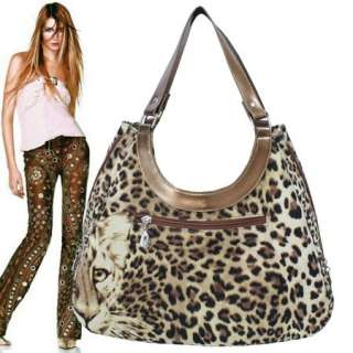 LEOPARD PRINT ZIPPER EXPANDABLE HOBO HANDBAG PURSE #623