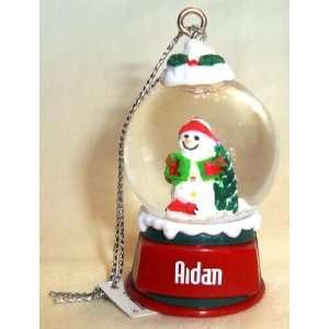 Aidan Christmas Snowman Snow Globe Name Ornament