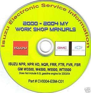 Isuzu npr nqr frr ftr fvr fsr gm w3500 repair cd 00 04