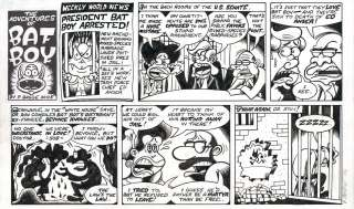 PETER BAGGE Batboy ORIGINAL COMIC STRIP ART Weekly World News