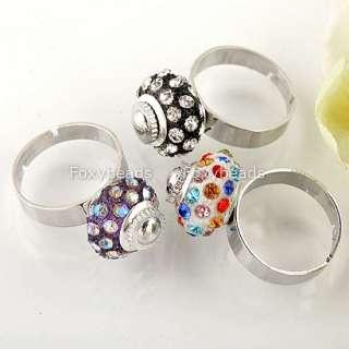 5X Multi Colour European Crystal Rhinestone Bead Charm Finger Cocktail