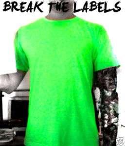 NEON FLUORESCENT Green Tecno PLAIN T SHIRT Nu party XL