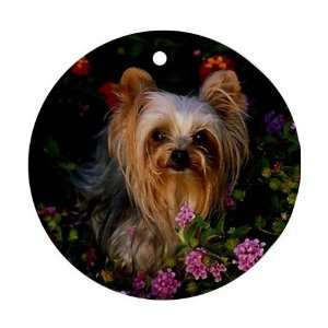 Yorkie puppy Ornament round porcelain Christmas Great Gift Idea