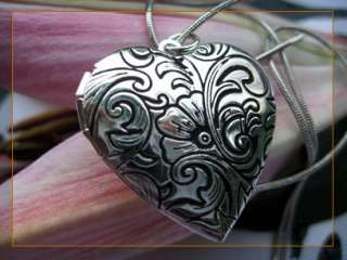 flower heart love silver picture locket charm pendant necklace 0133