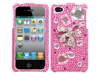 RHINESTONE 3D BLING FACEPLATE HARD SKIN CASE COVER APPLE IPHONE 4 4S