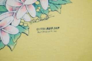 vtg 1986 ron jon surf shop florida pocket t shirt small yellow