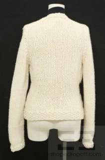 Cream Wool & Black Ruffle Trim Open Front Sweater 03A, Size 40