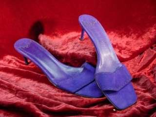 RALPH LAUREN Purple Suede SLIDE HEELS Shoes 9 1/2 B