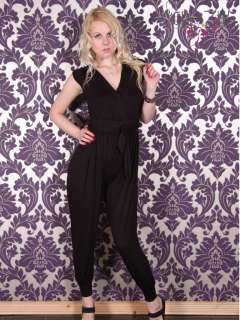 New Womens Ladies Plain and Striped Belted Playsuit Jumpsuit Dress