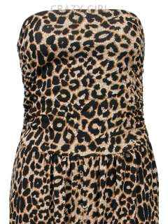 New Women Ladies Leopard Print Strapless Dress JUMPSUIT Playsuit Size