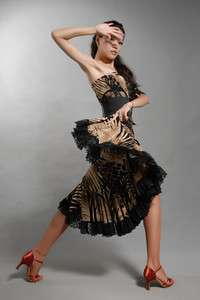 woman ballroom latin dance dress flamingo waltz tango one shoulder
