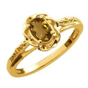 57 Ct Oval Whiskey Quartz Yellow Citrine 18K Yellow Gold Ring Jewelry