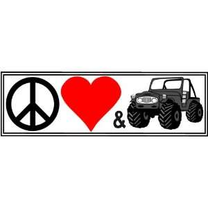 Peace Love & 4x4s   DECAL   8 inch X 2.5 inch Automotive