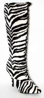 sexy knee lace up boots zebra faux fur print made USA