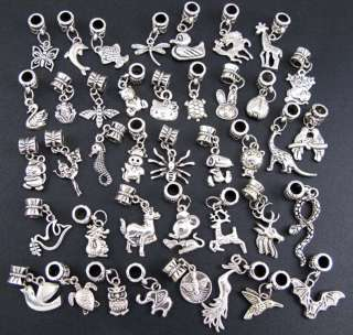 Mix Style 40pcs Tibetan Silver Animal Charms Beads Fit European