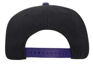 Blank Flat Bill Snapback Cap Hat Adjustable Two Tone BLACK/PURPLE