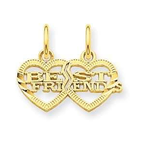 14k Gold Double Heart Best Friends Break apart Charm