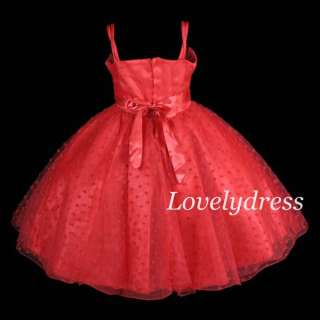 NEW Flower Girls Wedding Pageant Party Dress Outfit Children Wear Red