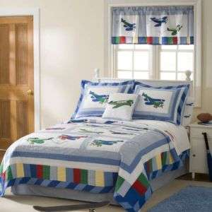 FLY AWAY VINTAGE AIRPLANE HANDCRAFTED FULL QUEEN QUILT SET BEDDING