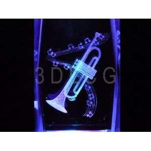 Trumpet Musical Instrument 3D Laser Etched Crystal FREE