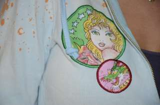 Gorgeous hoodie by Ed Hardy. Light blue with orange and white splatter