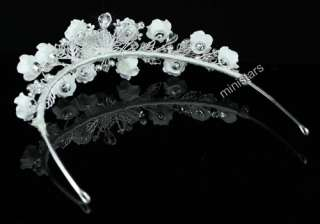 Bridal Handmade White Rose Crystal Tiara T1396