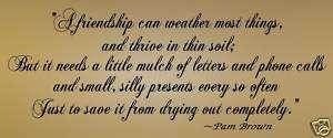 Friendship Weathers Vinyl Wall Art Decals Words Quote
