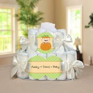 Caucasian Personalized Square   2 Tier Diaper Cake   Baby Shower Gift