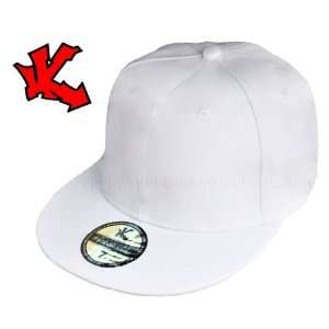 Plain White Fitted Flat Peak Baseball Cap 7 1/4