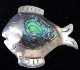 VTG Fish Pin Sterling Silver Abalone Shell Jewelry Gift Box