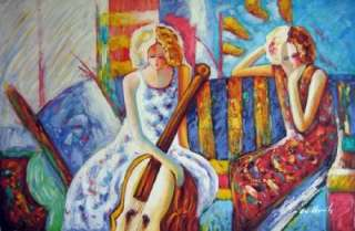 Portrait Oil Painting Female Musicans Lady Cello Player
