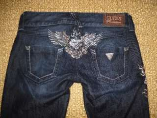 Premium Angel wings crystals roses dark low rise Skinny Jeans EUC 26