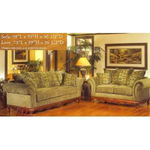 2PC Traditional Style Seymoure Olive Green Fabric Sofa