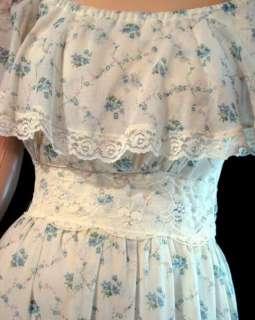 VTG 70s Sheer Floral BOHO Hippie WEDDING MAXI DRESS S