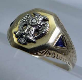 Antique Two Headed Eagle 14K Gold Sapphire Etched Ring