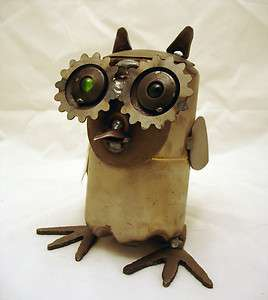 Recycled Scrap Metal Medium Owl Sculpture Yardbirds Made in the USA