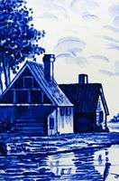 e631e FARMHOUSE ON DELFT BLUE TILE