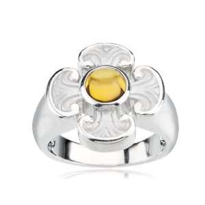 Sterling Silver and Citrine Maltese Cross Ring Size 7