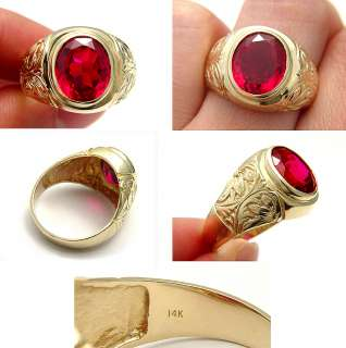 VINTAGE 6CT RED RUBY 14K SOLID GOLD COLLECTIBLE MENS STATEMENT RING