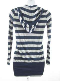SPLENDID Blue Gray Stripe Hooded Shirt Top Sz XS