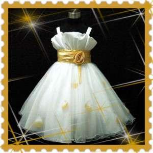 G818 2310 Gold White Fancy Wedding Party Bridesmaid Flower Girls Dress