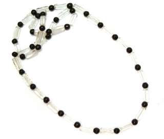 Necklace Jet Black Clear Rectangle Glass Jewelry 26 1/2 Long
