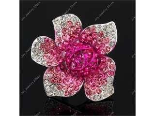 Rose flower bud rhinestone fashion jewelry adjust ring