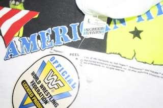 Vintage Hulk Hogan WWF t shirt WCW TNA WrestleMania 1991 NWT sticker