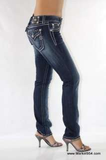 Hot Skinny Miss Me Jeans Dark wash THICK white STITCH Flap Pockets