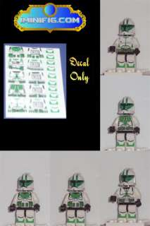 LEGO Custom Star Wars Green Clone Trooper decals x 5